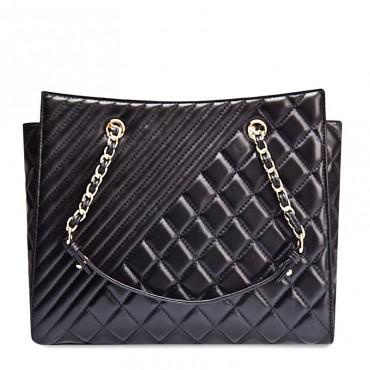 Angela Genuine Leather Tote Bag Black 75108