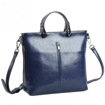 Pansy Genuine Leather Tote Bag Dark Blue 75275
