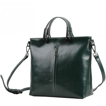 Pansy Genuine Leather Tote Bag Dark Green 75275