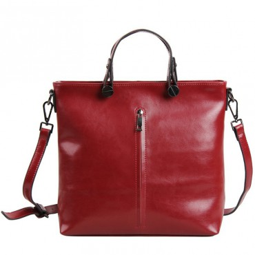 Pansy Genuine Leather Tote Bag Dark Red 75275