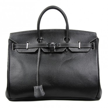 Stacy Genuine Leather Satchel Bag Black 75289