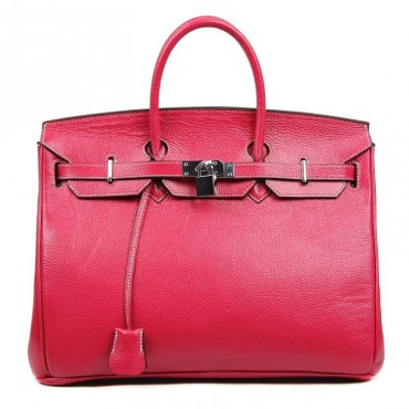 Stacy Genuine Leather Satchel Bag Magenta 75289