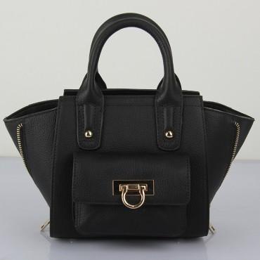 Prudence Genuine Leather Satchel Bag Black 75294