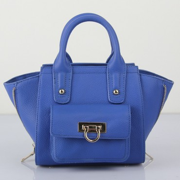 Prudence Genuine Leather Satchel Bag Blue 75294