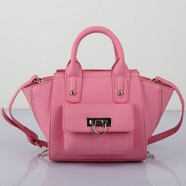 Prudence Sac à Main Cartable en Vrai Cuir de Vache Rose 75294