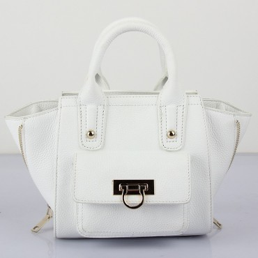 Prudence Genuine Leather Satchel Bag White 75294