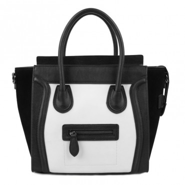 Avery Genuine Leather Satchel Bag Black White 75304