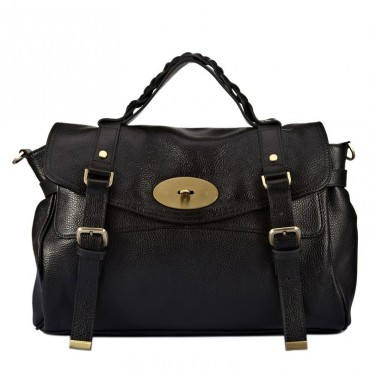 Susan Genuine Leather Satchel Bag Black 75307