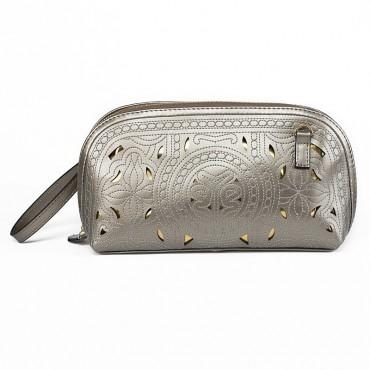 Cure Genuine Leather Clutch Bag Silver 75171