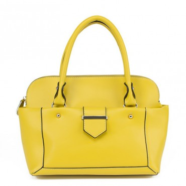 Laurene Genuine Leather Tote Bag Yellow 75182