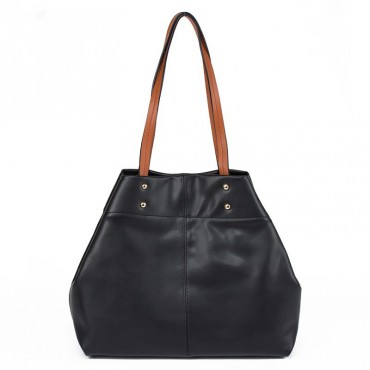 Lyra Genuine Leather Tote Bag Black 75185