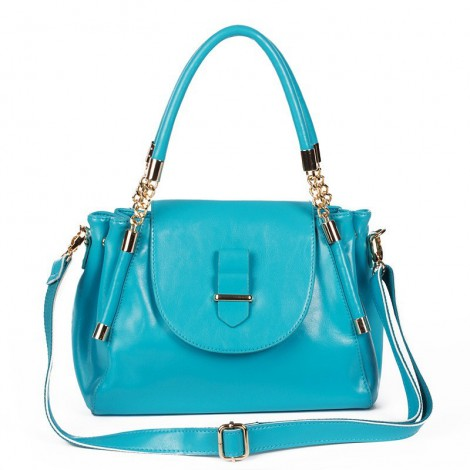 Coleen Genuine Leather Tote Bag Blue 75191