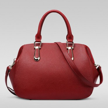 Genuine Leather Tote Bag Dark Red 75557