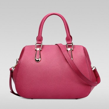 Genuine Leather Tote Bag Magenta 75557