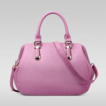 Genuine Leather Tote Bag Pink Purple 75557