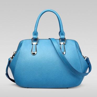 Genuine Leather Tote Bag Blue 75557