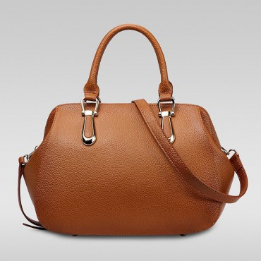 Genuine Leather Tote Bag Khaki 75557