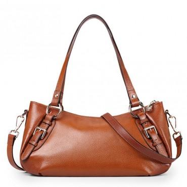 Genuine Leather Tote Bag Brown 75565