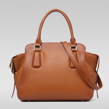 Genuine Leather Tote Bag Brown 75569