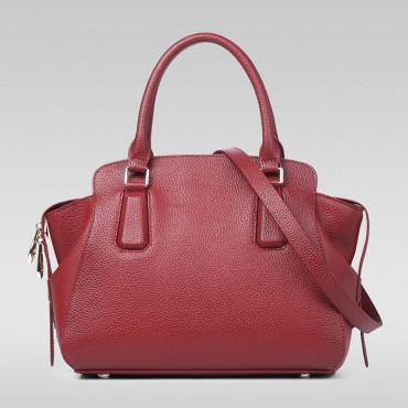 Genuine Leather Tote Bag Dark Red 75569