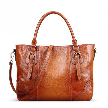 Genuine Leather Tote Bag Brown 75567
