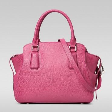 Genuine Leather Tote Bag Magenta 75569