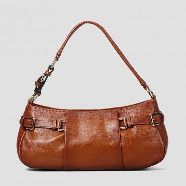 Genuine Leather Tote Bag Brown 75568