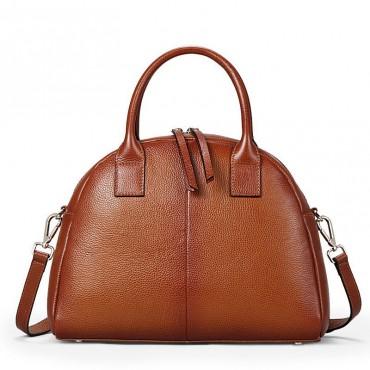 Genuine Leather Tote Bag Brown 75571