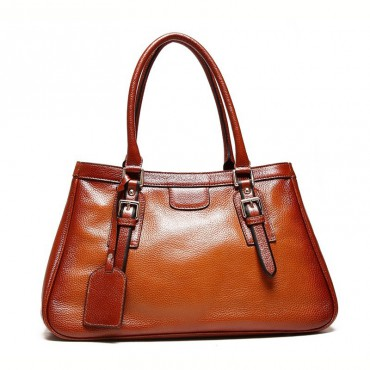 Genuine Leather Tote Bag Brown 75570