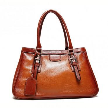 Genuine Leather Tote Bag Brown 75570