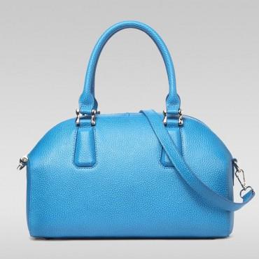 Genuine Leather Tote Bag Blue 75572