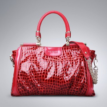 Genuine Leather Tote Bag Red 75574