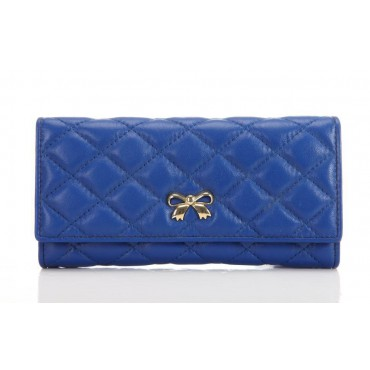 Genuine Lambskin Leather Wallet Blue 65116