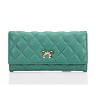 Genuine Lambskin Leather Wallet Green 65116