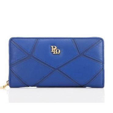 Genuine Lambskin Leather Wallet Blue 65118