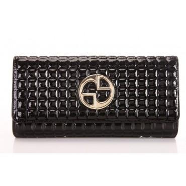 Genuine cowhide Leather Wallet Black 65119