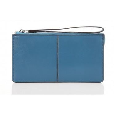 Genuine cowhide Leather Wallet Blue 65120