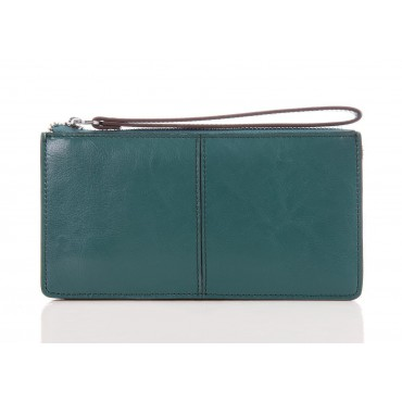 Genuine cowhide Leather Wallet Dark Green 65120
