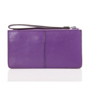 Genuine cowhide Leather Wallet Purple 65120