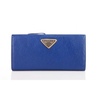 Genuine cowhide Leather Wallet Blue 65121