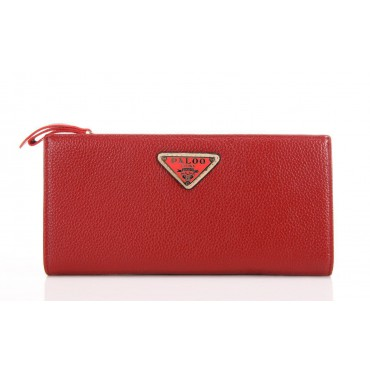 Genuine cowhide Leather Wallet Dark Red 65121