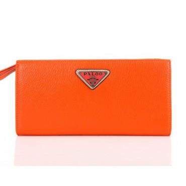 Genuine cowhide Leather Wallet Orange 65121