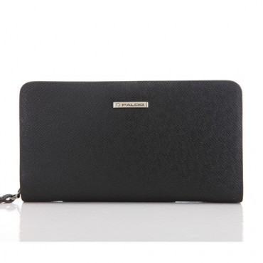 Genuine cowhide Leather Wallet Black 65123