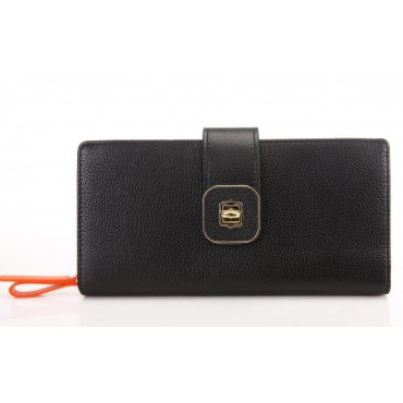 Genuine cowhide Leather Wallet Black 65125