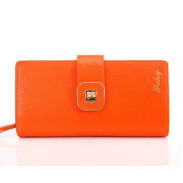 Genuine cowhide Leather Wallet Orange 65125