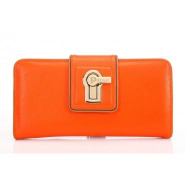 Genuine cowhide Leather Wallet Orange 64126