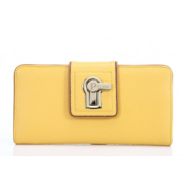 Genuine cowhide Leather Wallet Yellow 64126