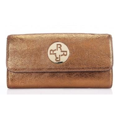 Genuine Leather Shoulder Bag Gold 75641