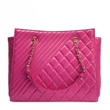 Angela Genuine Leather Tote Bag Magenta 75108