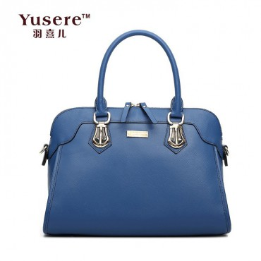 Genuine Leather Tote Bag Blue 75704